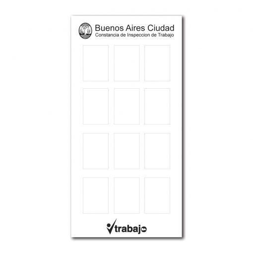 Cartel Obra GCBA - Constancia Inspeccion de trabajo de 35x70cm