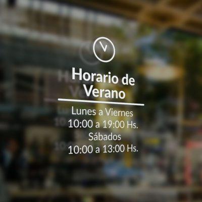 Cartel de Horario para Puerta de vidrio en vinilo autoadhesivo