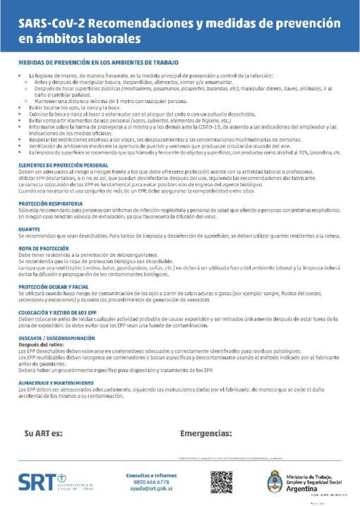 Poster SRT - Recomendaciones para ámbitos Laborales