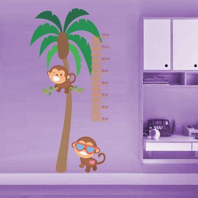 Palmera con monos - Medidor de altura - 120 cm