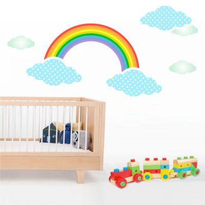 Vinilo infantil de Arcoiris con Nubes