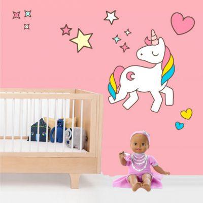 Vinilo infantil de Unicornio con Corazones y Estrellas