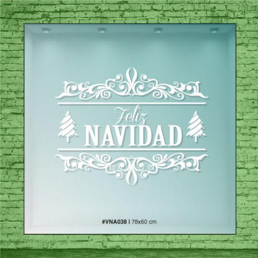 Feliz Navidad con pinos y ornamentos