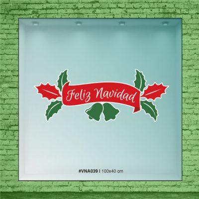 Frase feliz Navidad y muerdagos en rojo y verde