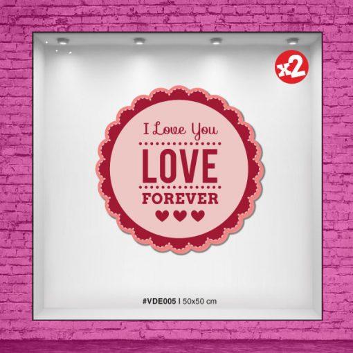 Vinilo I love you - LOVE forever con corazones