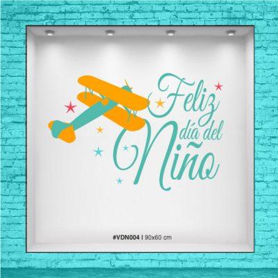 Vinilo para vidriera Feliz día del Niño - Avion