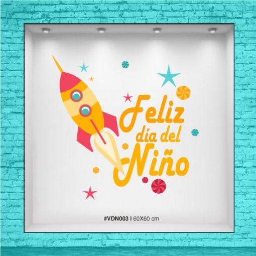 Vinolo full color para Vidriera - Feliz día del Niño - Cohete