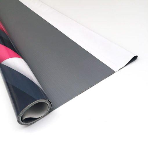 Dorso banner lona base gris con fundas