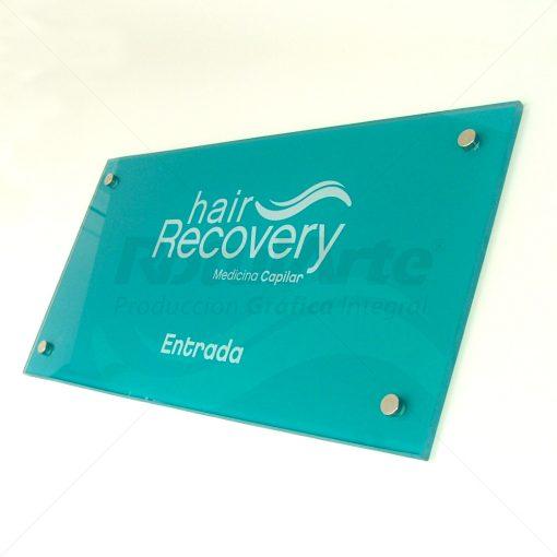 Cartel de entrada oficina - Hair Recovery
