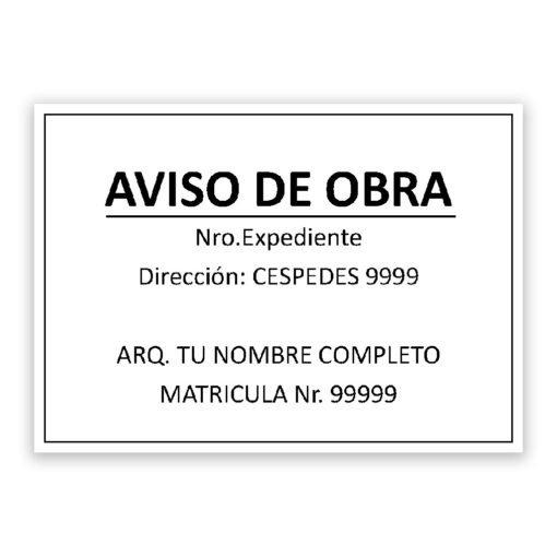 Cartel de Aviso de Obra - 70x50 cm - Personalizalo como quieras