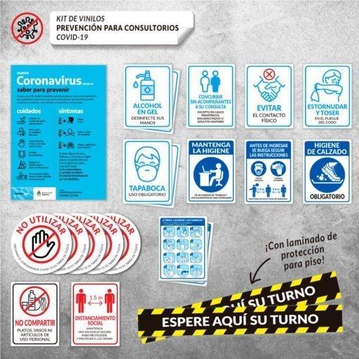 Cartel Adhesivo para Señalización en Consultorios con Sala de espera - Covid19
