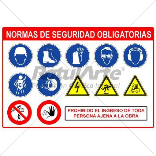 Cartel normas de seguridad obligatorias - Obra en construcción