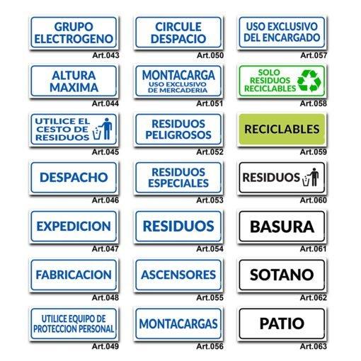 Carteles Informativos de Señalización - Residuos Reciclables