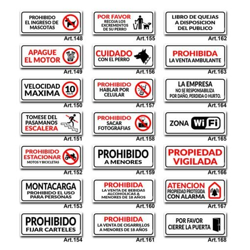 Carteles Informativos de Señalización - Prohibido Fumar / Estacionar