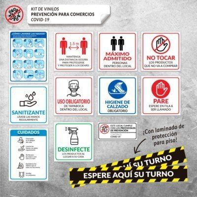 Kit de Carteles para Comercios - Vinilos Autoadhesivos - Prevención Covid-19