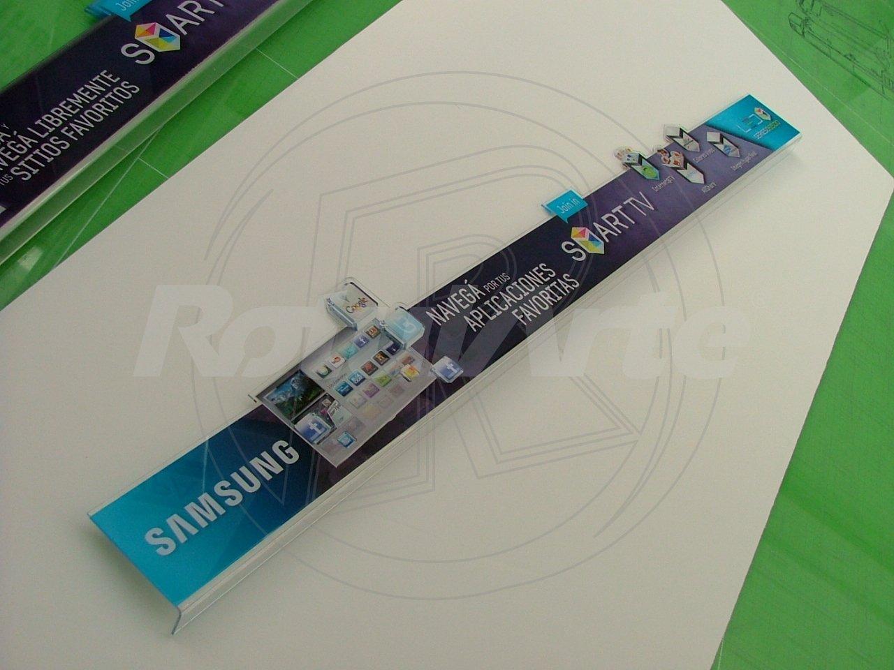 Cenefa en acrilico routeado - Bajo vidrio - Samsung