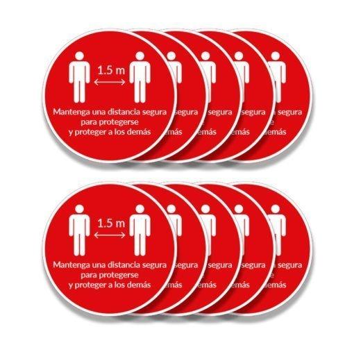 Pack de 10 calcos - Señalización para Pisos - Coronavirus - Covid 19