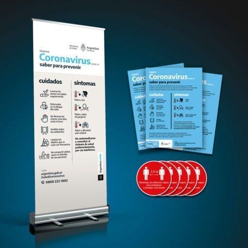 Kit de Prevención Coronavirus - Banner Roll-Up, Poster y Stickers para pisos