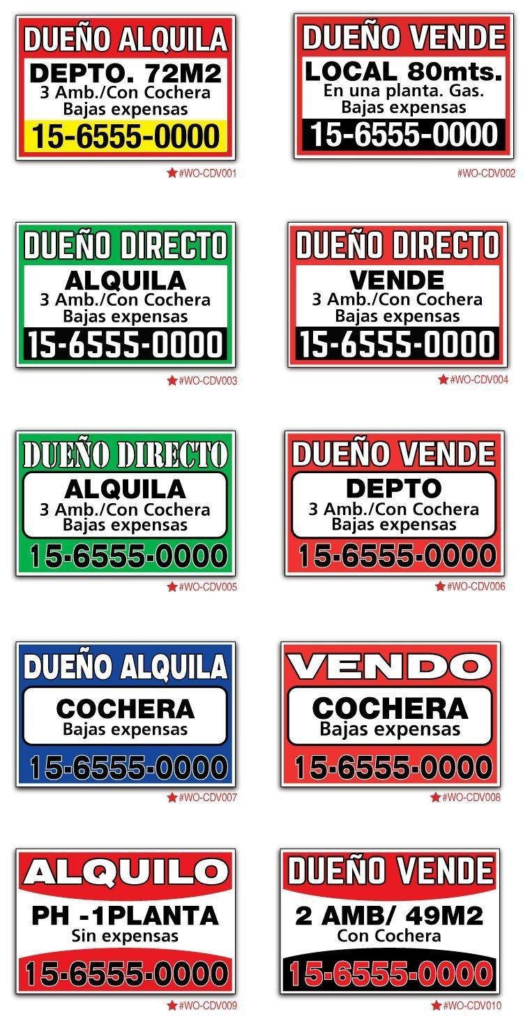 Modelos de carteles para vender o alquilar propiedad como dueño