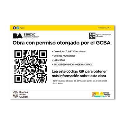 Nuevo cartel de permiso de obra con código QR