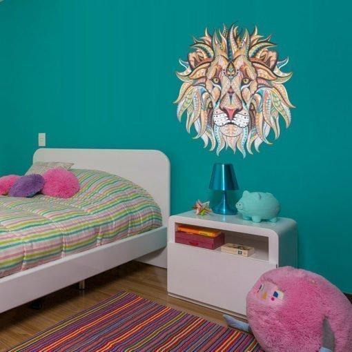 León Geométrico Colorido - Vinilo de Pared