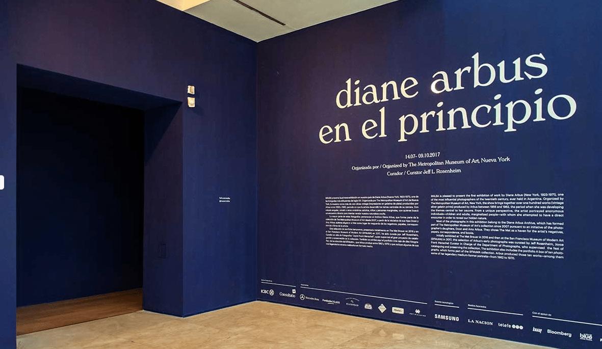 Pared principal de la exposición Diana Arbus realizada en vinilo de corte